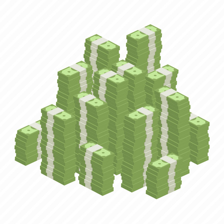 pile of money: Big stacked pile of cash. Hundreds of dollars in flat style isometric illustration. Big money concept. Stacked pile of hundred us dollar cash. Big pile of cash.