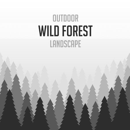 coniferous forest: Vector ilustración de fondo de bosques de coníferas salvaje. pino, paisaje de la naturaleza, madera panorama natural. Plantilla de diseño de campaña al aire libre en el estilo plano. Fondo del bosque de coníferas salvaje.