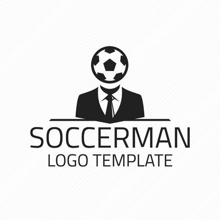 football coach: Soccer logo template. Black and White. Soccer Logo Emblem. Logo of the football coach.