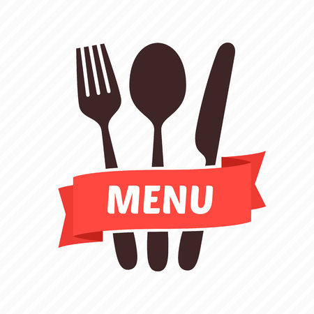table knife: Vector emblem for restaurant - a fork, a spoon and a table knife with a red tape and an inscription. A bright element of design for the menu of restaurant, cafe. Tableware.