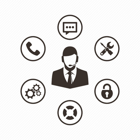 Computer technician vector icon. Support team icon set. Technical support operator with headset. Customer and technical support.