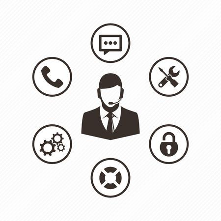Técnico del ordenador del icono del vector. el apoyo conjunto de icono de equipo. operador de soporte técnico con un audífono. Al cliente y soporte técnico.