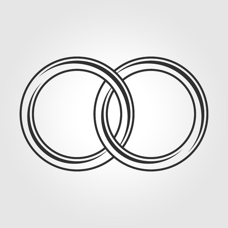 Vector black wedding rings icon on white background.