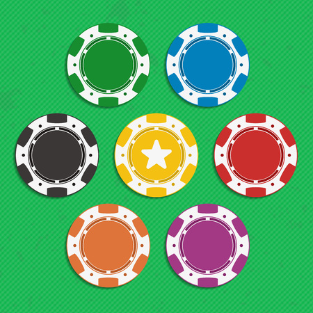 wager: Red, black, orange, yellow, violet, blue and green poker chip isolated on white background. Illustration of casino chips in flat style.