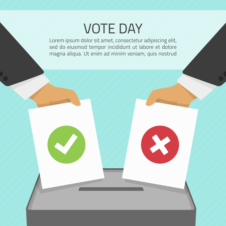 cons: Vector illustration voting concept - hand putting voting paper in the ballot box. Hand casting a vote. Vote ballot in hand with box in flat style. Infographics concept vote pros and cons. Illustration