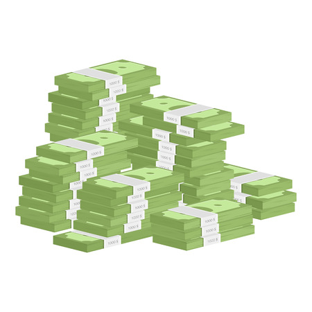 Vector illustration big pile of cash. Concept of big money. Vector isometric illustration in flat style. American dollars, pack, parcel, batch, package modern design isolated on white background. Vettoriali