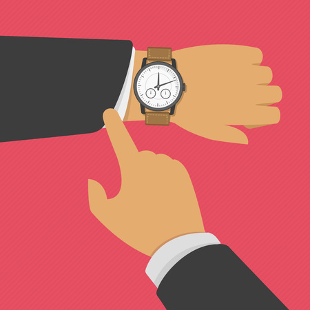time limit: Man with clock checks the time. Vector illustration of wristwatch on the hand of businessman in suit. Business concept of checking time, deadline, time limit.