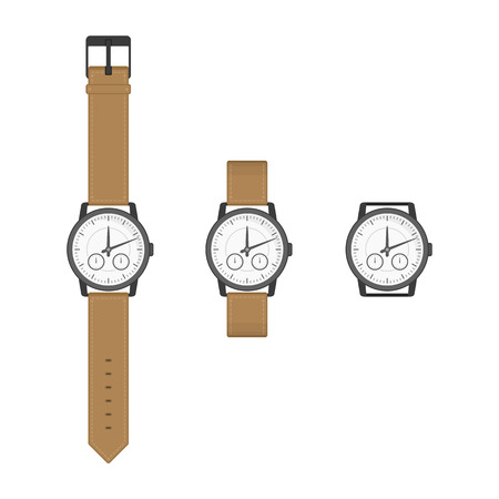 wrist strap: Black wrist watches with brown strap in classic design. Isolated clocks icon in flat style. Vector collection realistic watch on a white background.