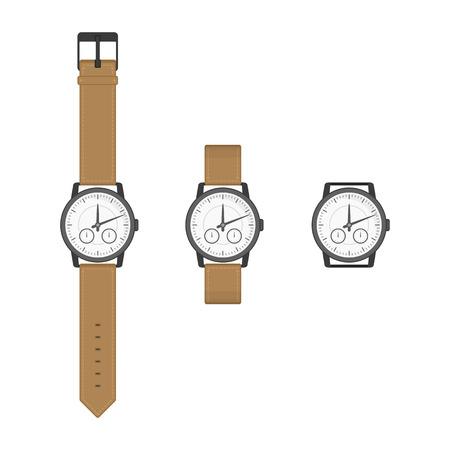 Schwarz Armbanduhren mit braunem Armband in klassischem Design. Isolierte Uhren-Symbol im flachen Stil. Vektor-Sammlung realistische Uhr auf weißem Hintergrund. Vektorgrafik