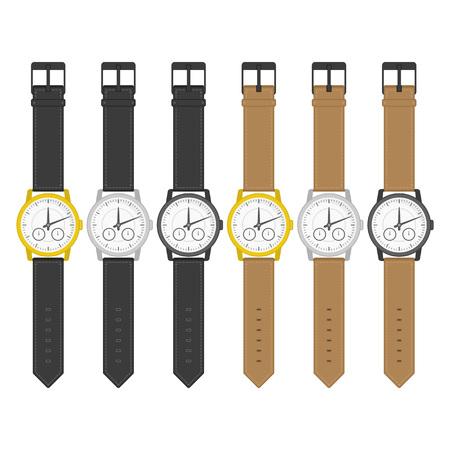 Ensemble de montres-bracelets multicolores dans un design classique. Icônes de montre-bracelet. Horloges isolées dans un style plat. Collection réaliste de Vector regarder sur un fond blanc. Vecteurs