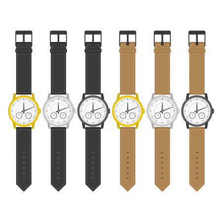 Set of multicolored wrist watches in classic design. Wristwatch icons. Isolated clocks in flat style. Vector collection realistic watch on a white background. Illustration