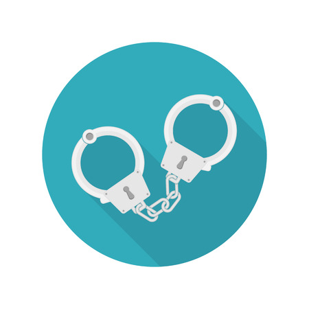 Handcuffs vector icon whit long shadow. Arrest symbol. Punishment for crime concept.