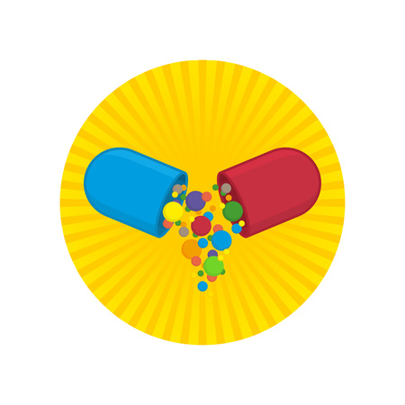 Pill icon vector. Medicine icon pills or tablets capsules in flat stule. Vector design element. Illustration