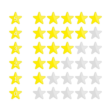 Rating Stars Set. Vector illustration of a rating system based on stars. Illustration