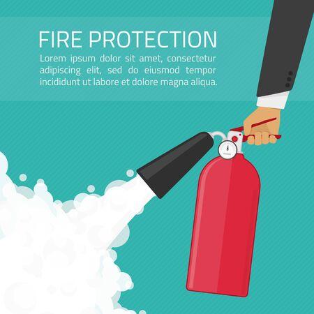 Feuerlöscher in den Händen. Brandschutz-Illustration. Die Brandschutz Ankündigung Konzept in flachen Stil.