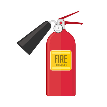 dry powder: Fire extinguisher vector illustration in flat style. Safety equipment icon, fire extinguisher dry powder or foam.