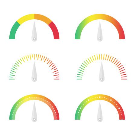 set vector velocímetro. ilustración vectorial manómetro en estilo plano. aislado indicador de puntuación de conjunto. establecer medidores circulares iconos.