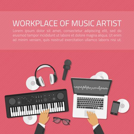 Arbeitsplatz von Musikkünstler Illustration in der modernen Wohnung Stil. Workplace Musik und eine Draufsicht auf einen Synthesizer, Laptop, Kopfhörer mit Mikrofon. Dj kreativen Prozess Konzept. Banner für die Musikschule.