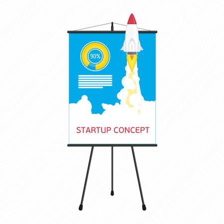 above clouds: Vector illustration of rocket flying above clouds, business startup banner concept. Background with start rocket. Entrepreneur design concept. Modern flat style.