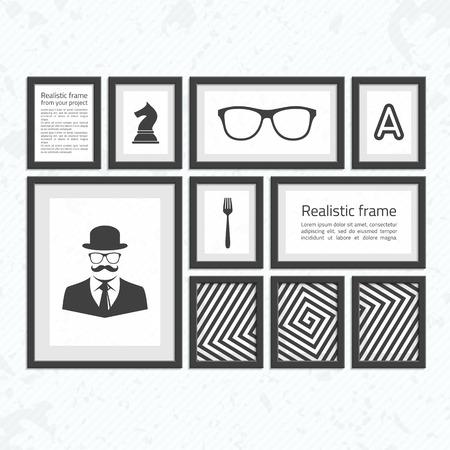 Collection de cadres noirs. Cadres carrés en bois d'un ensemble sombre pour votre conception web. Cadres photo abstraites sur fond vintage. Vector set of frames photo ou texte sur le mur. Banque d'images - 61196007