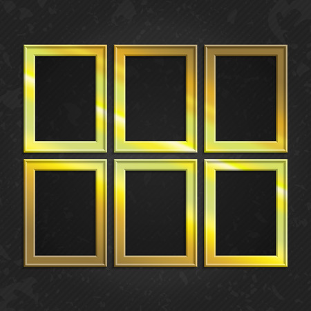 yellow photo: Set of gold wooden frames. Wooden square picture frames of gold color set for your web design. Abstract colorful picture frames on vintage background. Vector set of yellow photo frames on the wall. Illustration