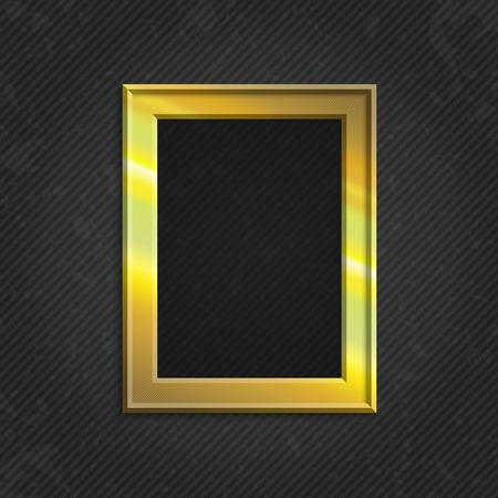 gold picture frame: Realistic gold picture frame isolated on white background. Gold frame on a wall vector background design for your content. Realistic frame for photos or the text. Modern realistic frame.