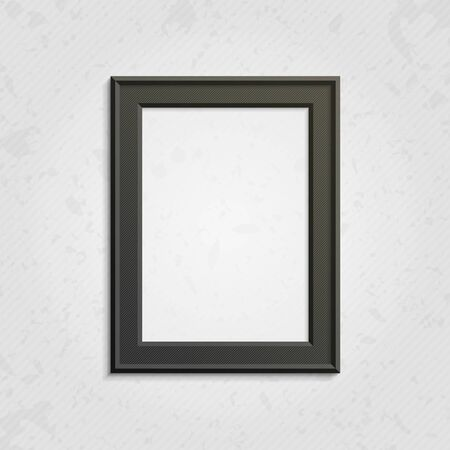 black picture frame: Realistic black picture frame isolated on white background. Dark frame on a wall vector background design for your content. Realistic frame for photos or the text. Modern realistic frame.