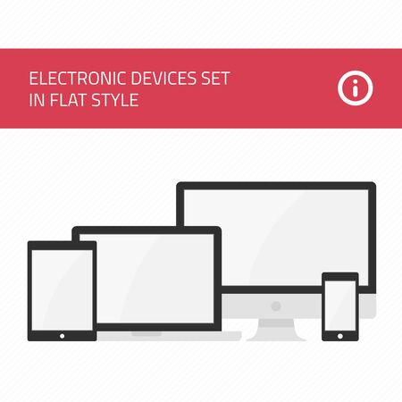 electronic devices: Set of vectors electronic devices. Realistic vector laptop, tablet computer, monitor and mobile phone template. Electronic Devices with Black Screens. Various modern electronic Devices icons.