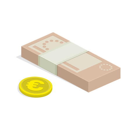 money packet: Vector illustration of pile of money. Single flock of cash and coin flat icon, Euro banknote pack, packet, parcel, batch, package. Modern design isolated on white background. Modern currency icons. Illustration
