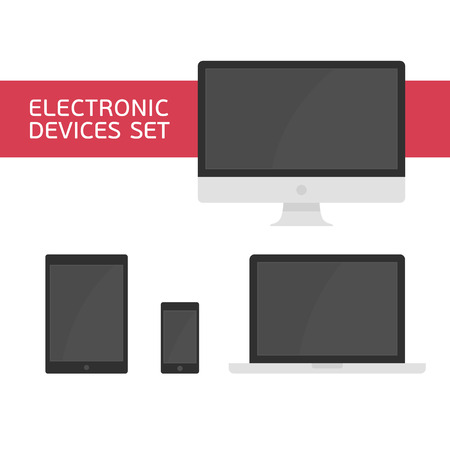 mobile devices: Set of vectors electronic devices. Realistic vector laptop, tablet computer, monitor and mobile phone template. Electronic Devices with Black Screens. Various modern electronic Devices icons.
