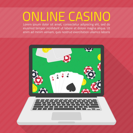 games of chance: Background of Casino online. Illustration of casino in flat style. Internet casino concept. Online poker app on laptop screen, cards and poker chips all around. Concepts web banner, games of chance.