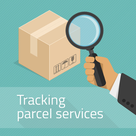 order shipping: Package tracking flat illustration. Tracking parcel services concept. Package status place tracking online order shipping business concept web vector illustration. Illustration