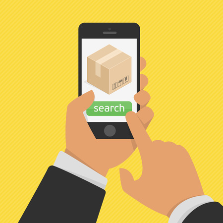 shipment: Package tracking flat illustration. Order tracking app on smartphone screen concept. Hand holding mobile smart phone with app delivery tracking.
