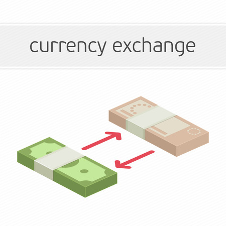 foreign currency: Currency exchange concept. Modern banner template of currency exchange, money exchange. Dollar to euro foreign currency exchange illustration for apps, websites or signboard. Illustration