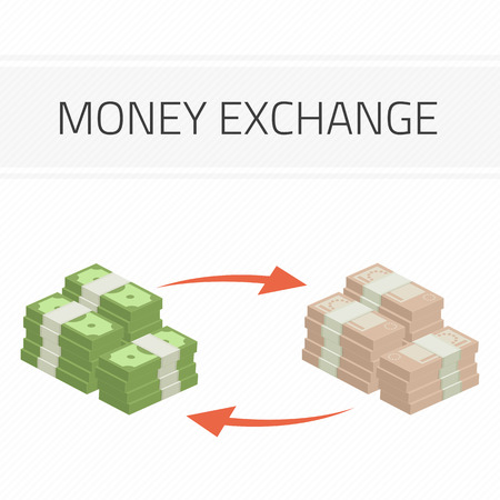 converting: Currency exchange, money exchange. Stock Exchange in a flat style. Modern vector illustration concept of world currency exchange, converting money with euro,dollar symbols.