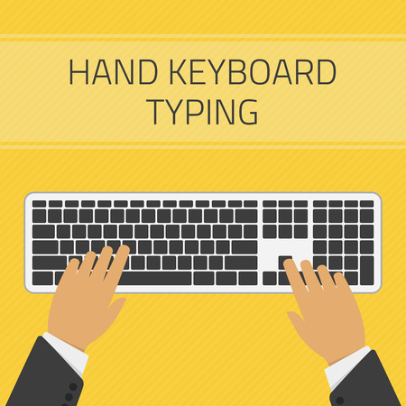 typing on keyboard: Vector illustration of hand keyboard typing vector. Technology design over yellow background. Hand typing text on keyboard. Concept of writing a blog, blogging. Illustration
