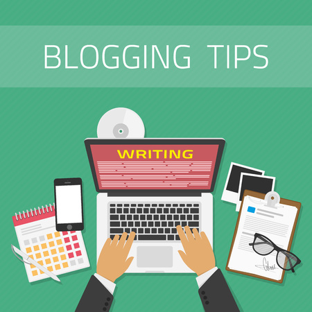 article writing: Writing an article or mesage for blog on computer concept. Vector illustration of writing a blog, blogging. Copywriting or typing text. Flat design modern vector illustration concept.