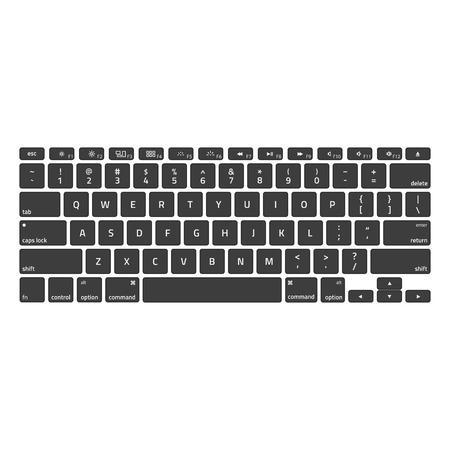 Teclados de computadora. Teclado moderno y compacto en color blanco y negro. Diseño de tecnología. Teclado con alfabeto. Ilustración de vector