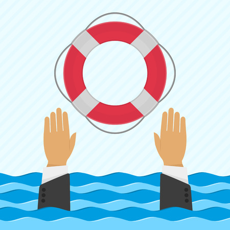 survive: Vector background with hand and lifebuoy in flat style. Helping business survive or technical support concept. Online help.