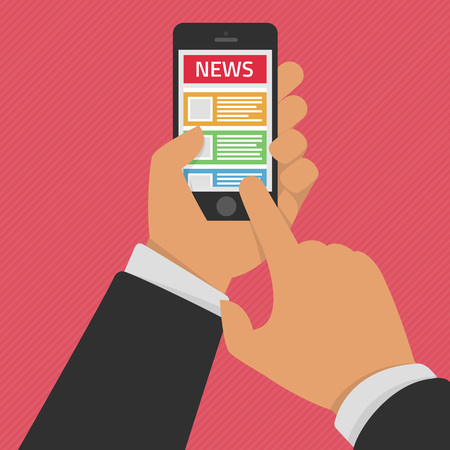 reading app: Vector illustration of news app on smartphone screen. Online reading news on smartphone. Modern concept for web banners, web sites or infographics. Creative flat design. Online digital media concept.