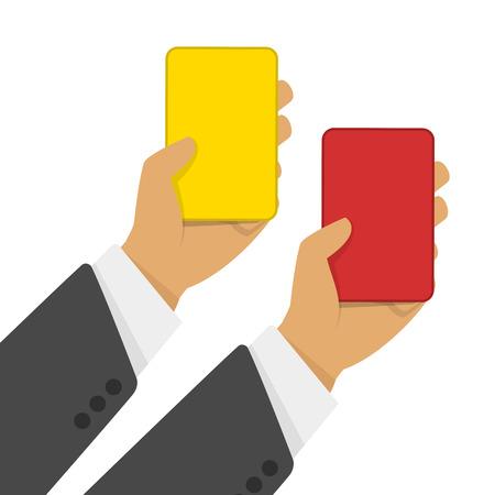 arbitros: Mano de hombre de negocios que muestra la tarjeta amarilla y tarjeta roja. Ilustración del vector de árbitros de fútbol mano con la tarjeta roja y amarilla.