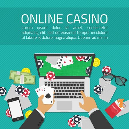 games of chance: Background of Casino online. Online poker app on laptop screen, cards and poker chips all around. Illustration of casino online in flat style. Concepts web banner, games of chance.