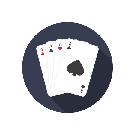 Four Ace icon with long shadow. Vector flat isolate game cards icon. Vector illustration of 4 aces.