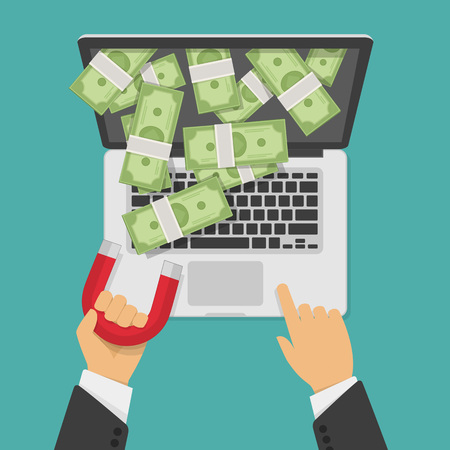it business: Concept of attracting investments. Vector illustration of money business success dollar magnet. Magnet in businessman hand pulls money out laptop. Laptop with money, web or IT business concept.