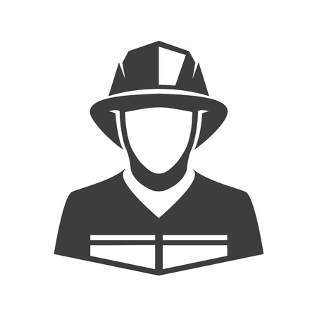 Fireman vector icon. Illustration of fireman isolated on white background in flat style. Icon of man in fireman uniform. Ilustração Vetorial