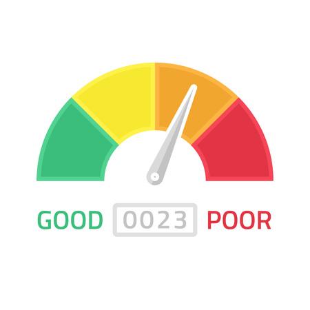 ottimo: Illustrazione di vettore di calibro punteggio di credito. icona di Tachimetro in stile piatto. di prestazioni