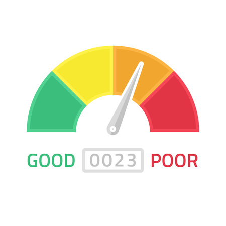 poverty: Vector illustration of credit score gauge. Speedometer icon in flat style. Performance Meter