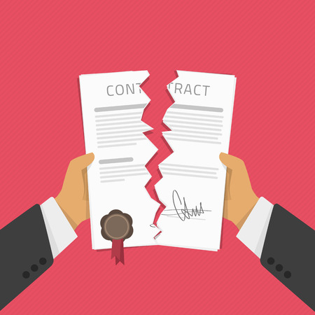 apart: Businessman hands tearing apart contract document. Vector illustration in modern flat style. Contract termination concept.