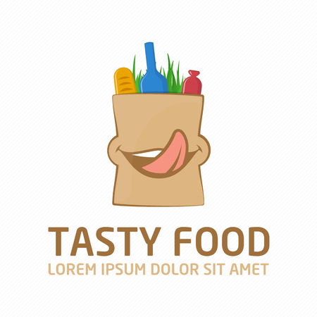 grocery bag: Tasty Food Shopping Logo design vector template. Products in package. Creative icon grocery bag with a smile. The emblem of wholesome foods. Shopping or Delivery Sign.