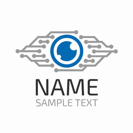 Cyber ??icône symbole de vecteur d'oeil ou d'un logo concept de cybersécurité. Moderne icône du support. Vision concept Logotype. Banque d'images - 63389999